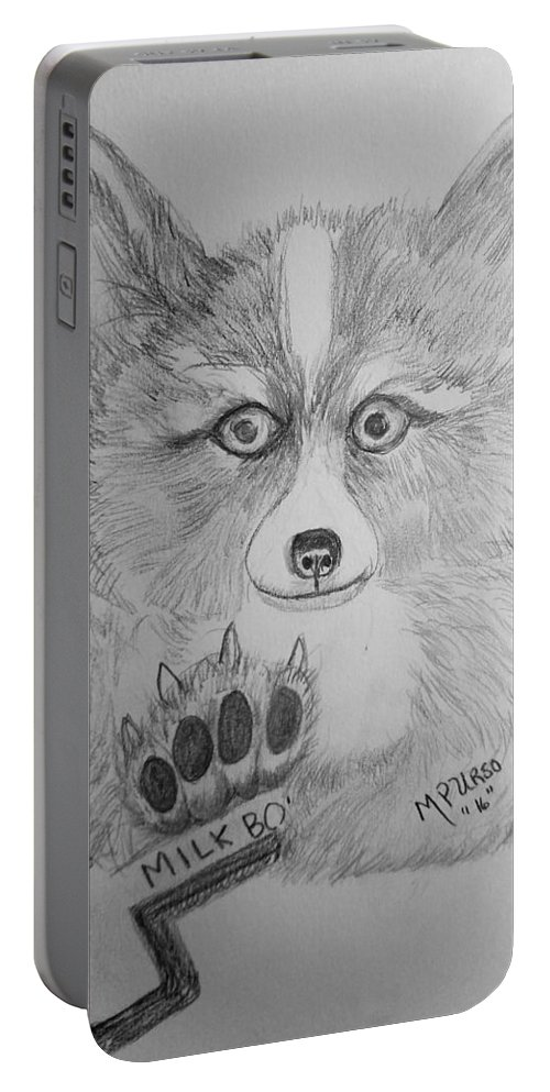 Corgi Portable Battery Charger featuring the drawing Corgi Pup by Maria Urso