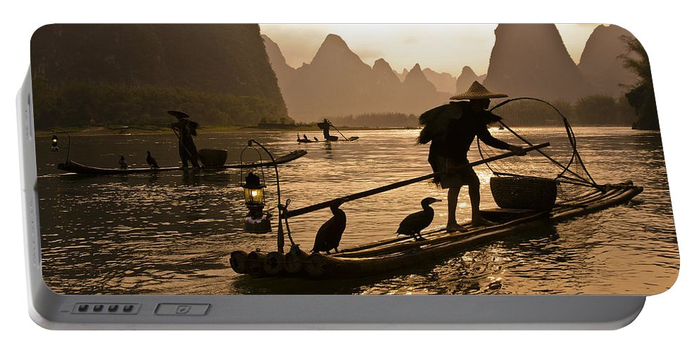 Asia Portable Battery Charger featuring the photograph Cormorant Fishermen At Sunset by Michele Burgess