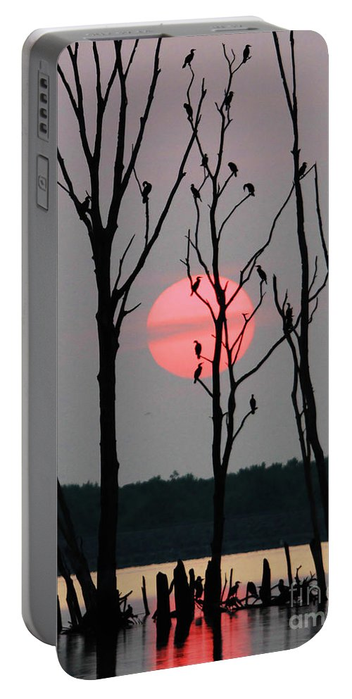 Cormorant Portable Battery Charger featuring the photograph Cormorant Gathering At Sunrise by Roger Becker