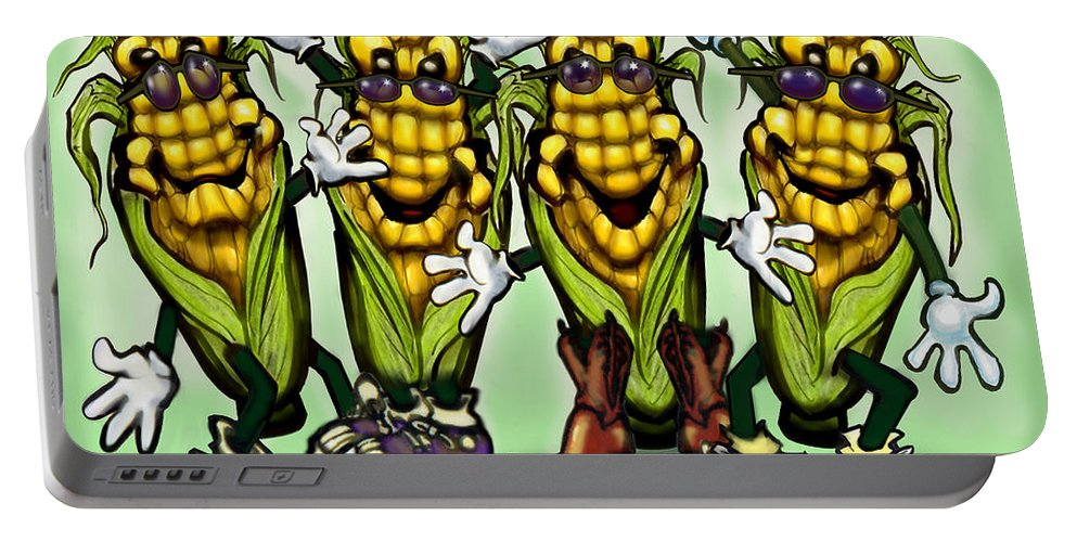 Corn Portable Battery Charger featuring the digital art Corn Party by Kevin Middleton