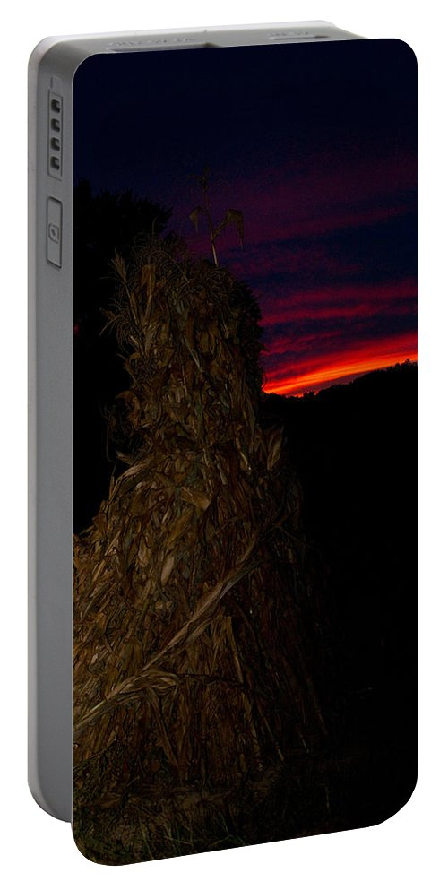 Kentucky Portable Battery Charger featuring the photograph Corn Shock At Twilight by Douglas Barnett