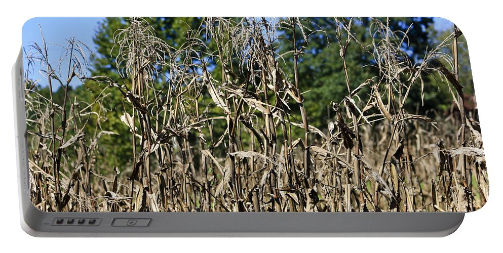 Corn Portable Battery Charger featuring the photograph Corn Stalks Drying by Teresa Mucha