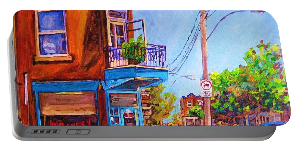 Wilenskys Corner Fairmount And Clark Portable Battery Charger featuring the painting Corner Deli Lunch Counter by Carole Spandau