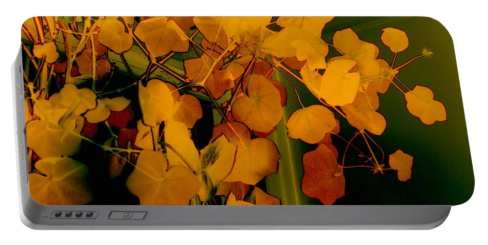 Autumn Portable Battery Charger featuring the digital art Corner In Green And Gold by RC DeWinter