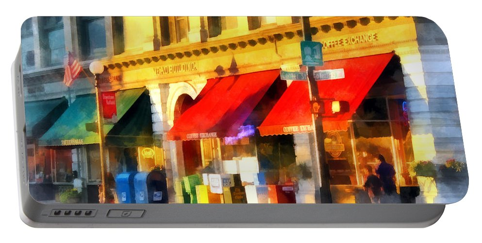 City Portable Battery Charger featuring the photograph Corner Of Center And Merchant Rutland Vt by Susan Savad