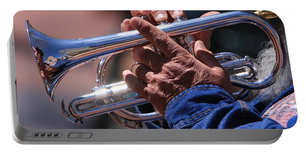 Trumpet Portable Battery Charger featuring the photograph Cornet On Pearl by James BO Insogna