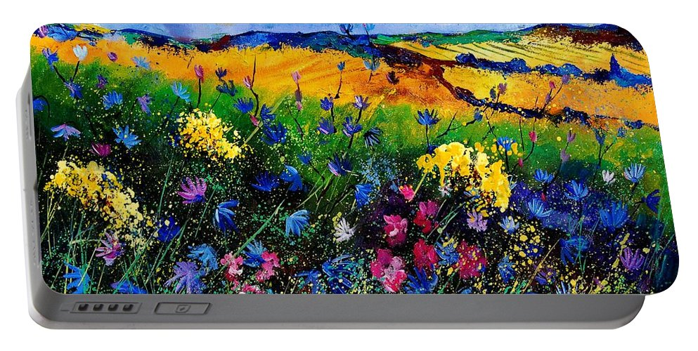 Flowers Portable Battery Charger featuring the painting Cornflowers 680808 by Pol Ledent