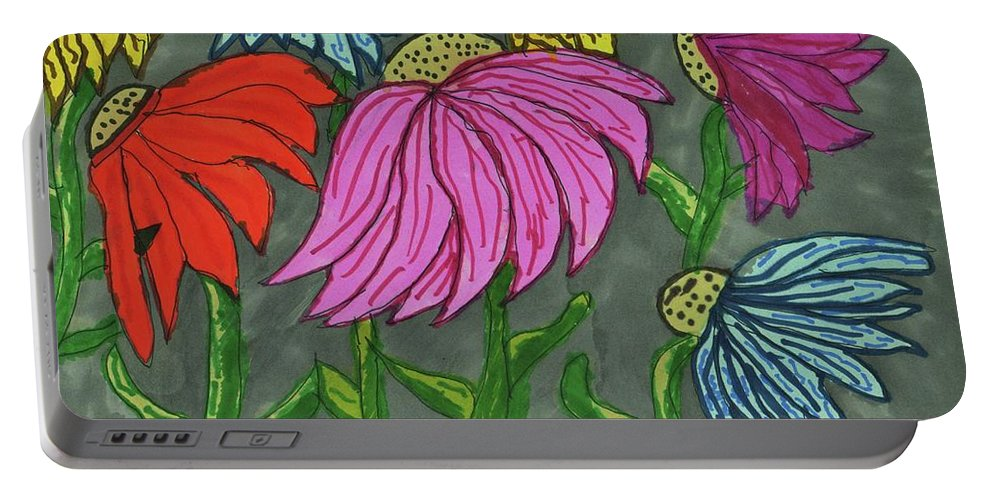 Cornflower Gray Sky Portable Battery Charger featuring the mixed media Cornflowers In Bloom by Elinor Helen Rakowski