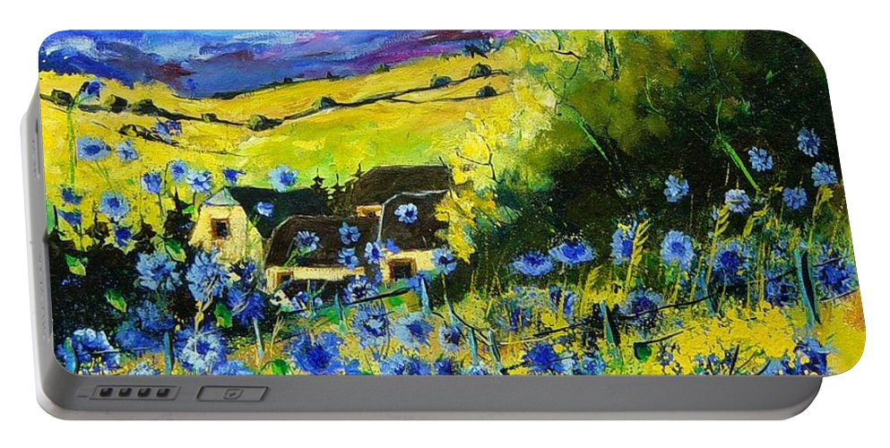 Flowers Portable Battery Charger featuring the painting Cornflowers In Ver by Pol Ledent