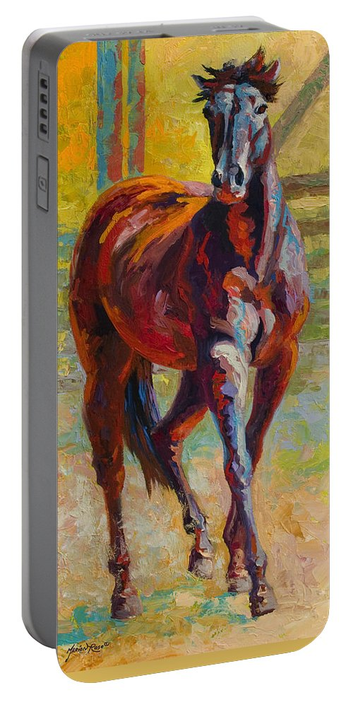 Horses Portable Battery Charger featuring the painting Corral Boss - Mustang by Marion Rose