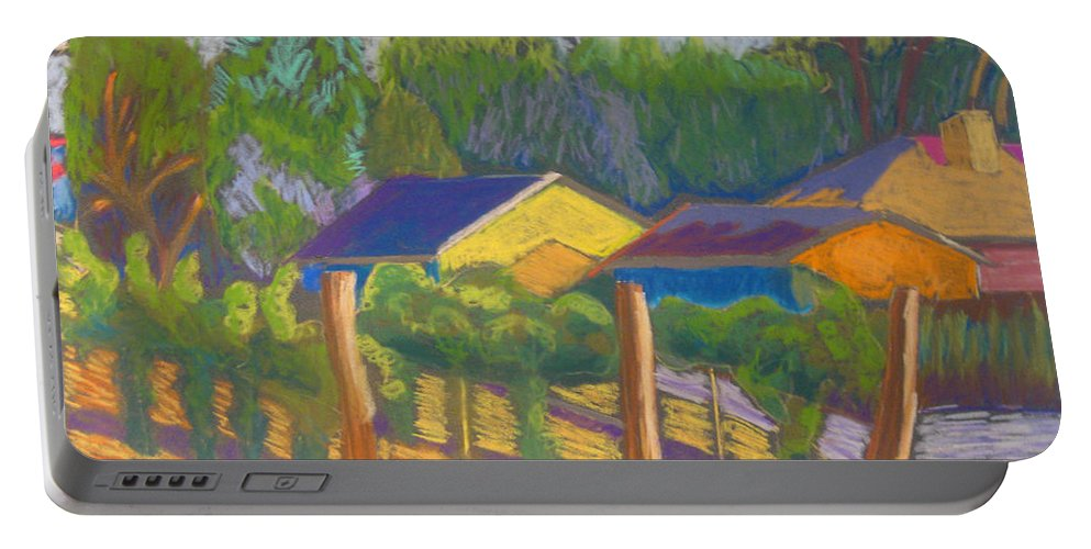 Vinyard Portable Battery Charger featuring the pastel Corrales Vinyard by Constance Gehring