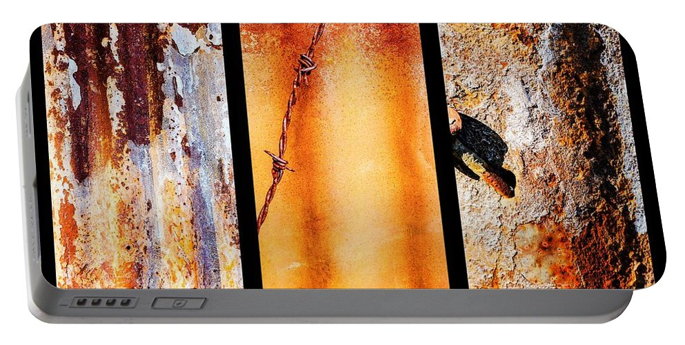Aussie Galvanised Iron Portable Battery Charger featuring the photograph Corrugated Iron Triptych #8 by Lexa Harpell