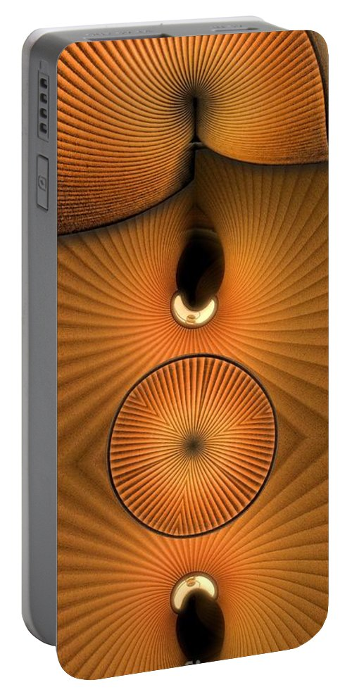 Collage Distortion Portable Battery Charger featuring the digital art Corrugations In Orange by Ron Bissett