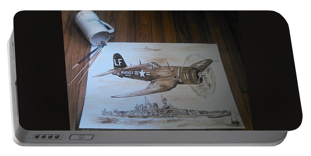 Marines Portable Battery Charger featuring the painting Corsair by Nathanael Manzer
