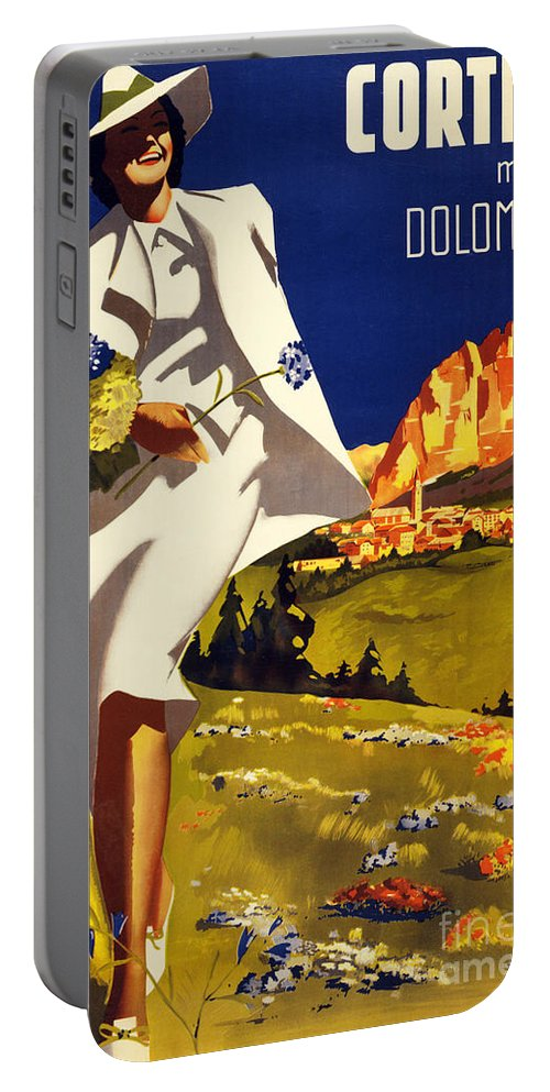 Mountains Portable Battery Charger featuring the painting Cortina Dolomiti Italy Vintage Poster Restored by Vintage Treasure