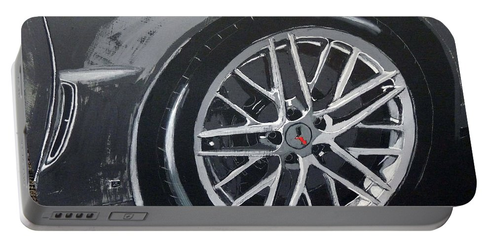 Corvette Portable Battery Charger featuring the painting Corvette Wheel by Richard Le Page