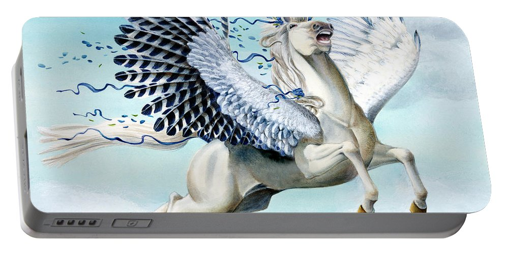 Artwork Portable Battery Charger featuring the painting Cory Pegasus by Melissa A Benson