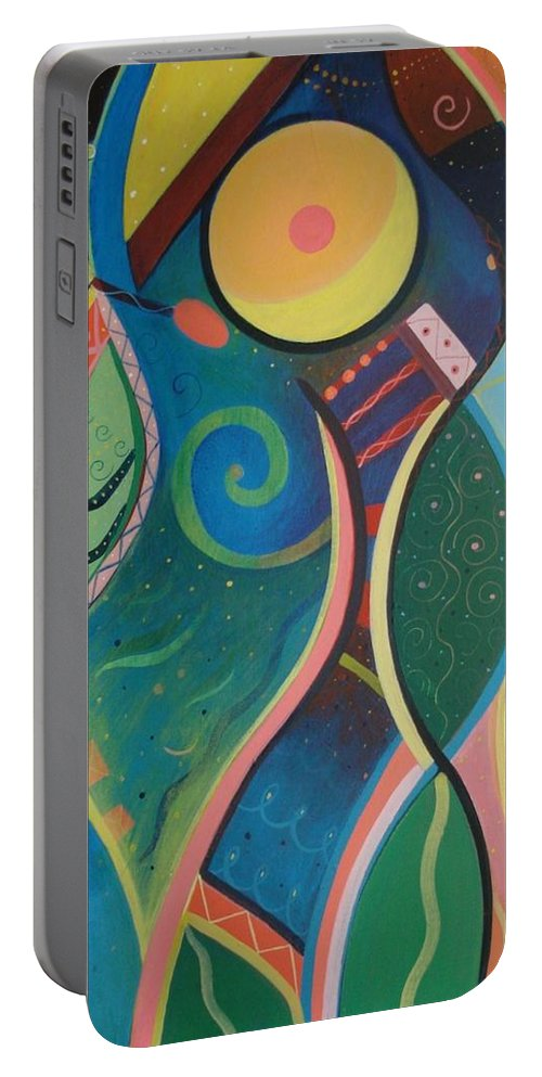 Abstract Portable Battery Charger featuring the painting Cosmic Carnival V Aka The Dance by Helena Tiainen