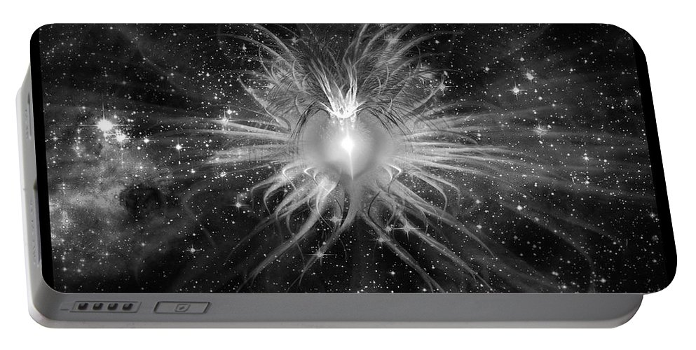Corporate Portable Battery Charger featuring the digital art Cosmic Heart Of The Universe Bw by Shawn Dall