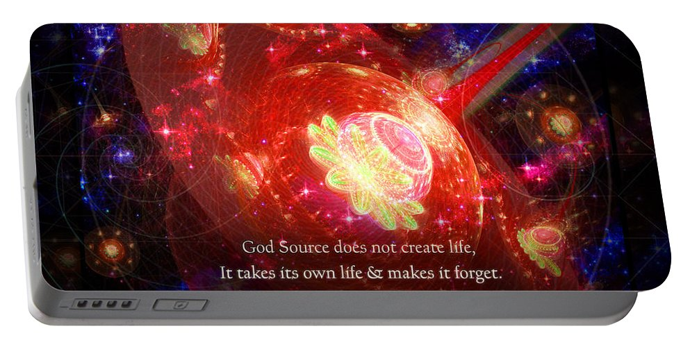 Corporate Portable Battery Charger featuring the mixed media Cosmic Inspiration God Source 2 by Shawn Dall