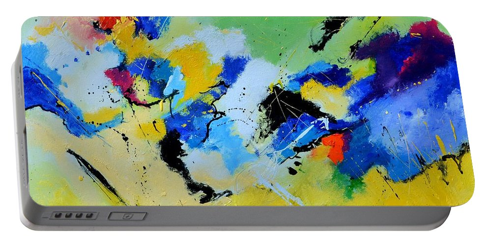 Abstract Portable Battery Charger featuring the painting Cosmic Struggle by Pol Ledent