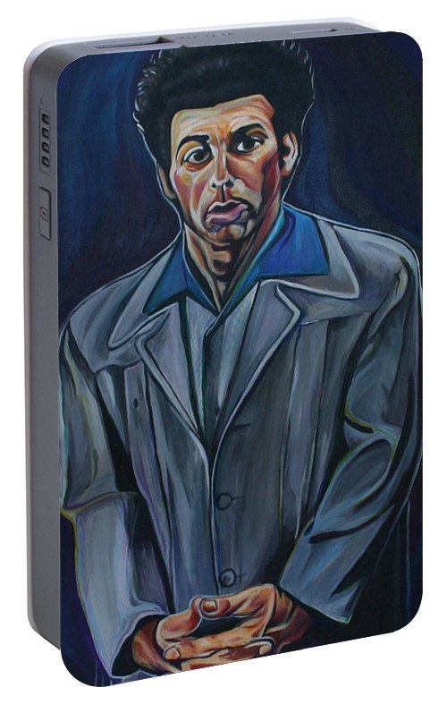 Michael Richards Portable Battery Charger featuring the painting Cosmo by Kate Fortin