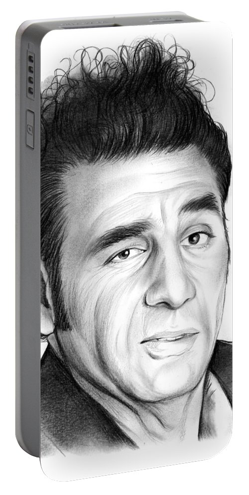 Michael Richards Portable Battery Charger featuring the drawing Cosmo Kramer by Greg Joens