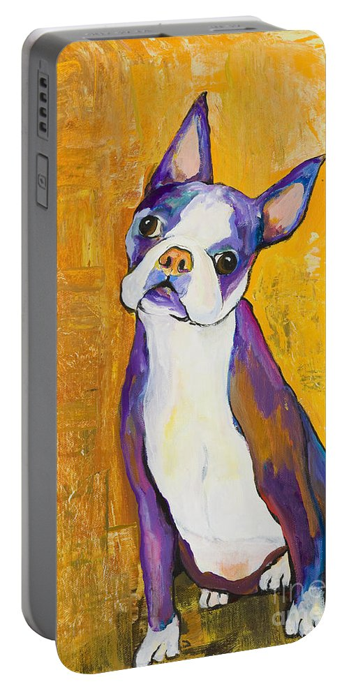 Boston Terrier Animals Acrylic Dog Portraits Pet Portraits Animal Portraits Pat Saunders-white Portable Battery Charger featuring the painting Cosmo by Pat Saunders-White