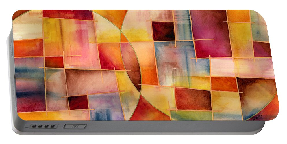 Abstract Portable Battery Charger featuring the painting Cosmopolitan 1 by Hailey E Herrera