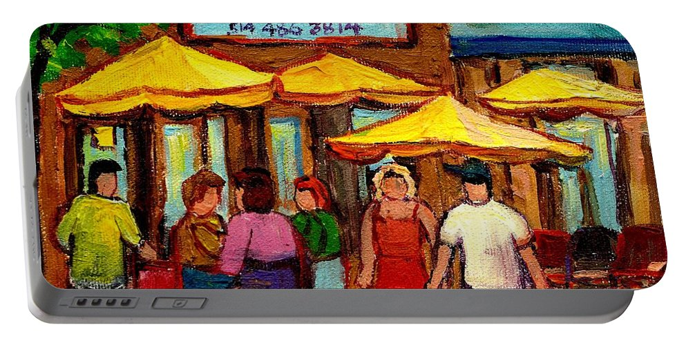 Cosmos Restaurant Portable Battery Charger featuring the painting Cosmos Fameux Restaurant On Sherbrooke by Carole Spandau