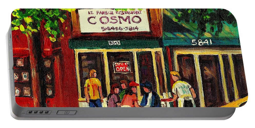 Cosmos Portable Battery Charger featuring the painting Cosmos Famous Montreal Breakfast Restaurant by Carole Spandau