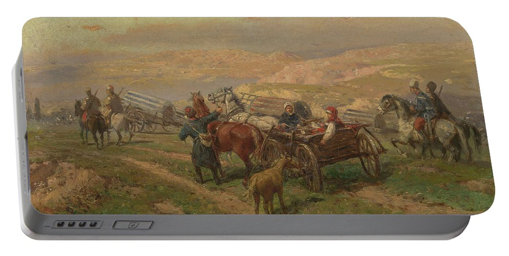 Zommer Portable Battery Charger featuring the painting Cossak Convoy by MotionAge Designs