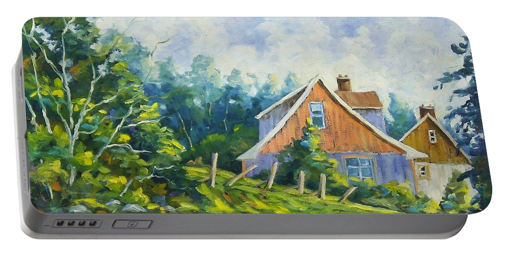 Art Portable Battery Charger featuring the painting Cote Ste Anne De Beaupre by Richard T Pranke