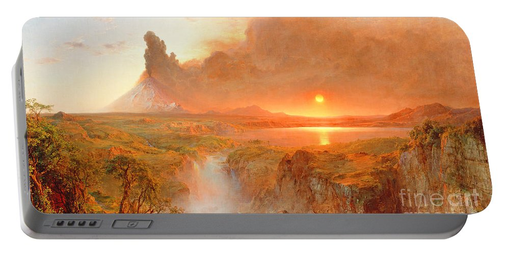 Cotopaxi Portable Battery Charger featuring the painting Cotopaxi by Frederic Edwin Church