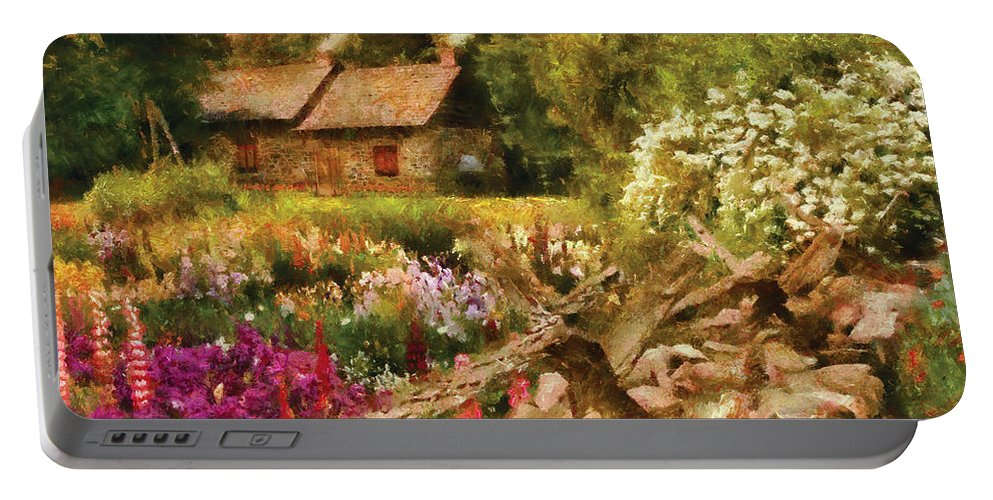 Savad Portable Battery Charger featuring the photograph Cottage - There's No Place Like Home by Mike Savad