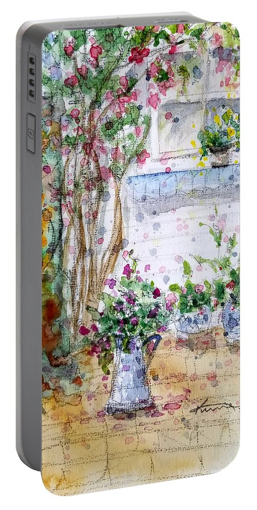 Cottage Garden Portable Battery Charger featuring the painting Cottage Garden by Kume Bryant