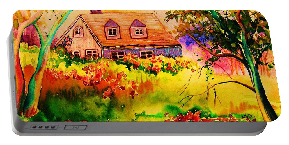 Maine Countryscene Portable Battery Charger featuring the painting Cottage In Maine by Carole Spandau