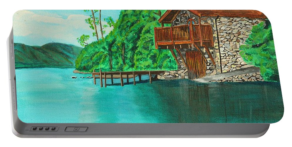 Water Portable Battery Charger featuring the painting Cottage On Lake by David Bigelow