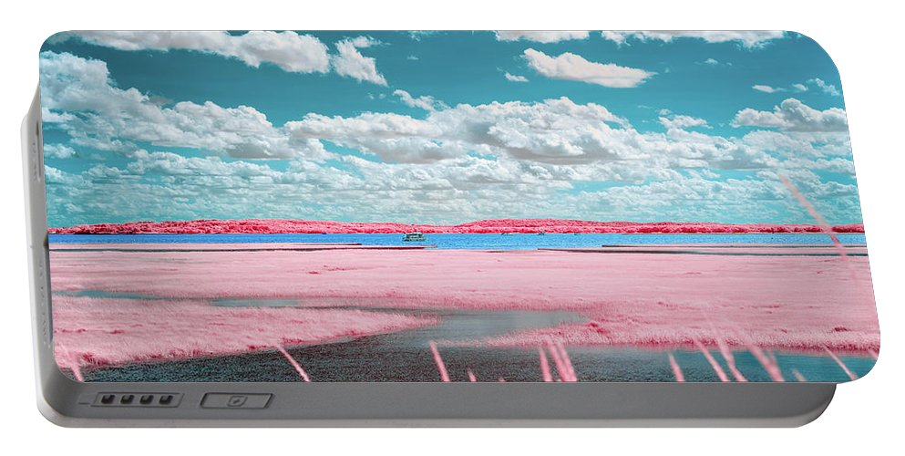 Plum Island Cape Elizabeth Ma Mass Massachusetts Brian Hale Brianhalephoto Ir Infrared Infra Red Pink Blue Sky Clouds Marsh Outside Outdoors Nature Natural U.s.a. Usa Portable Battery Charger featuring the photograph Cotton Candy Marsh by Brian Hale