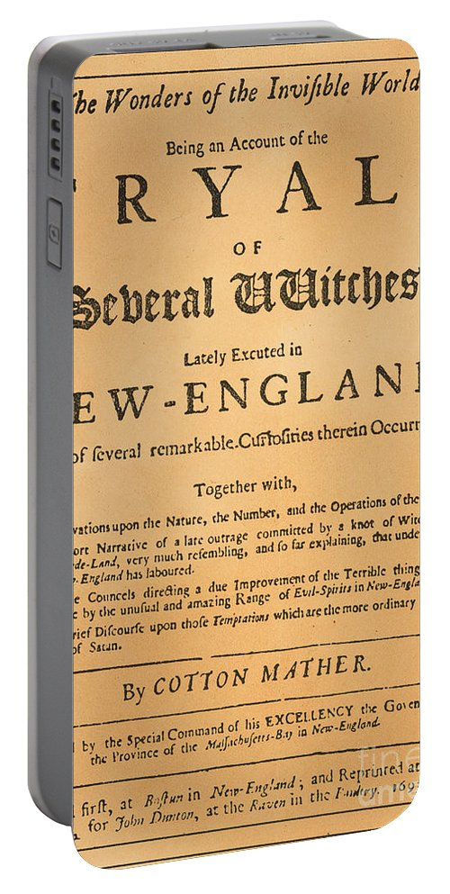 1693 Portable Battery Charger featuring the photograph Cotton Mather, 1693 by Granger
