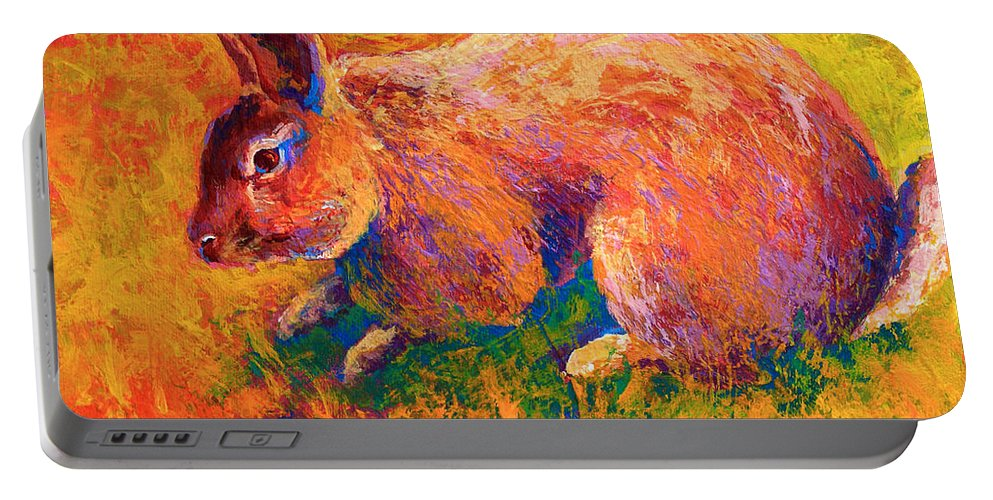 Rabbit Portable Battery Charger featuring the painting Cottontail I by Marion Rose