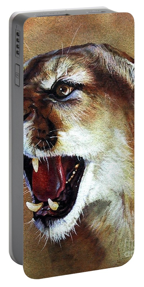 Southwest Art Portable Battery Charger featuring the painting Cougar by J W Baker