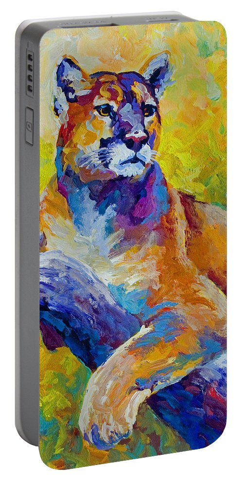 Mountain Lion Portable Battery Charger featuring the painting Cougar Portrait I by Marion Rose