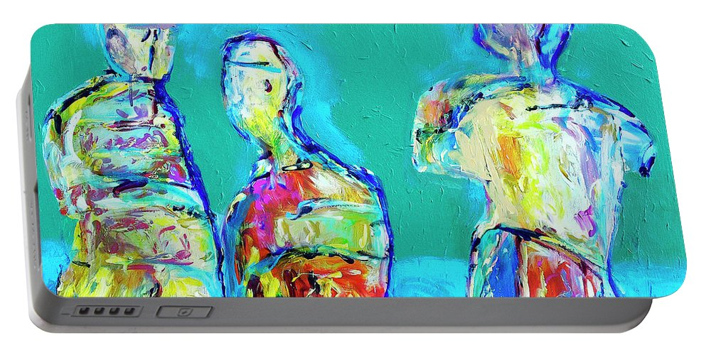 Abstract Portable Battery Charger featuring the painting Council Of Elders by Dominic Piperata