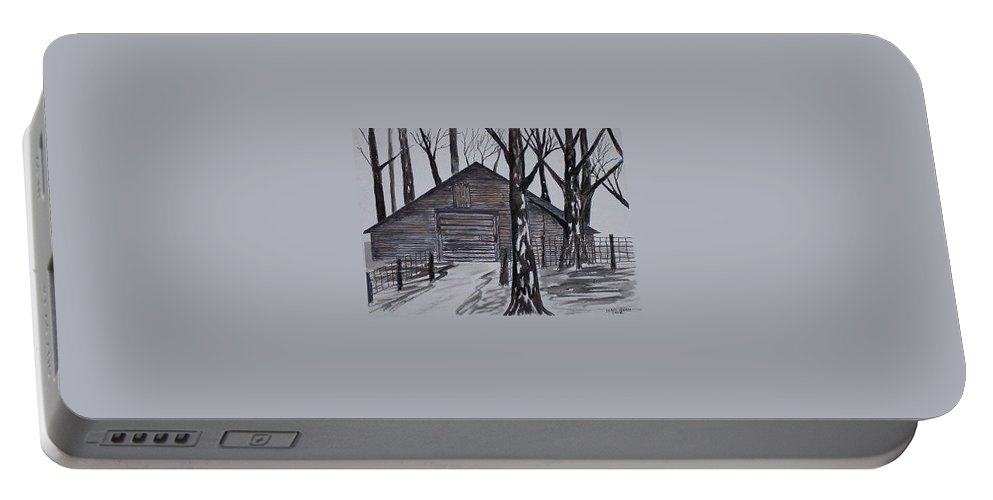 Watercolor Landscape Painting Barn Pen And Ink Drawing Print Original Portable Battery Charger featuring the painting COUNTRY BARN pen and ink drawing print by Derek Mccrea