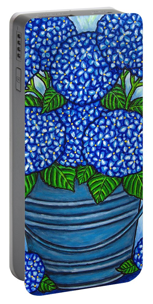 Blue Portable Battery Charger featuring the painting Country Blues by Lisa Lorenz