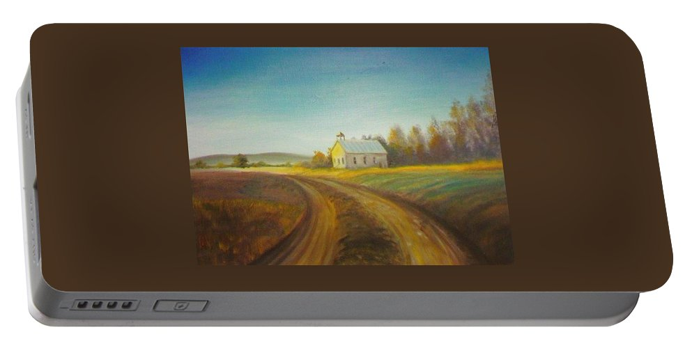 Landscape Portable Battery Charger featuring the painting Country Church by Scott Easom
