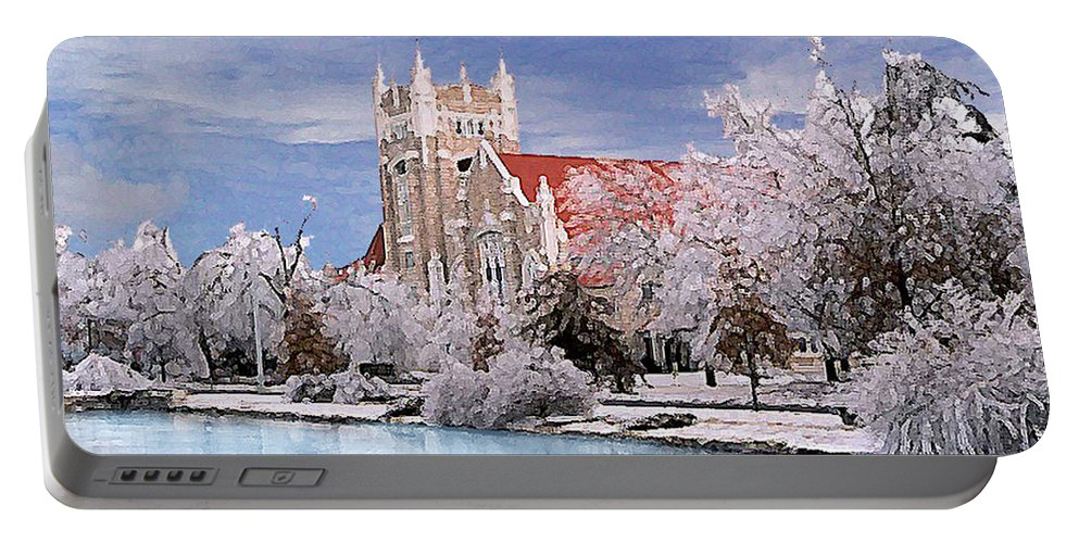 Winter Portable Battery Charger featuring the photograph Country Club Christian Church by Steve Karol