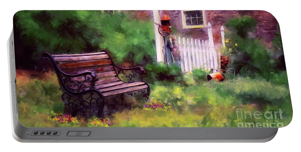 Bench Portable Battery Charger featuring the photograph Country Garden by Lois Bryan