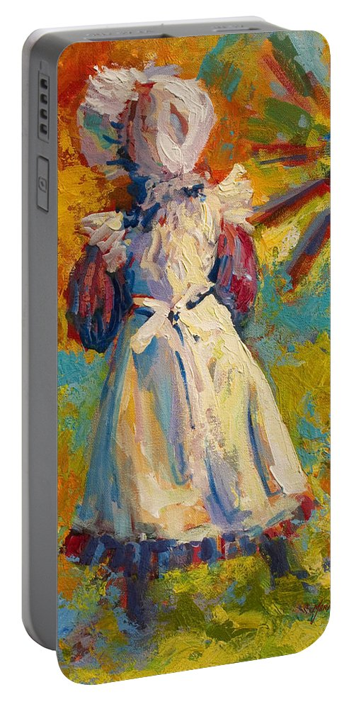 Figure Portable Battery Charger featuring the painting Country Girl by Marion Rose